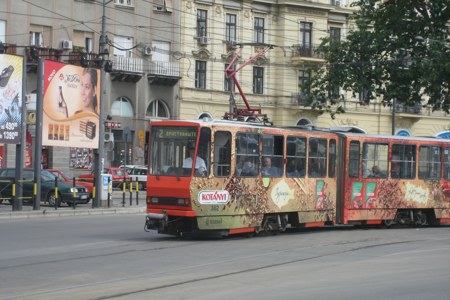 Belgrade articulated tram 382 on tram line 2 on the road Karađorđeva (2008).