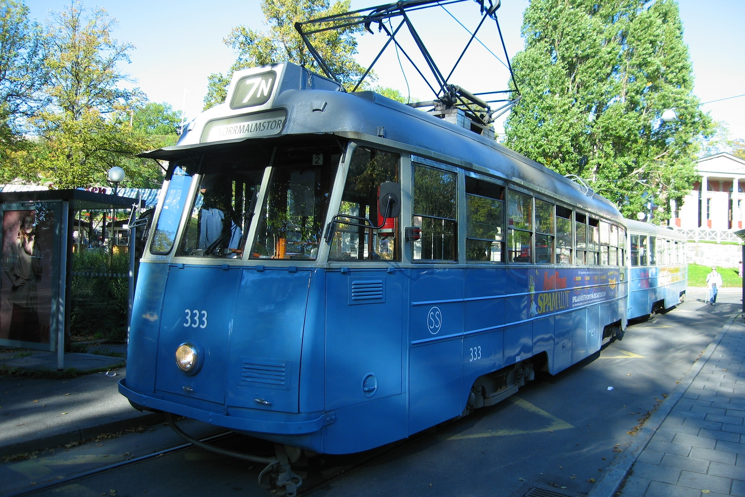 Gothenburg railcar 333 on museum line Djurgårdslinjen 7N at the final destination Skansen (2011).