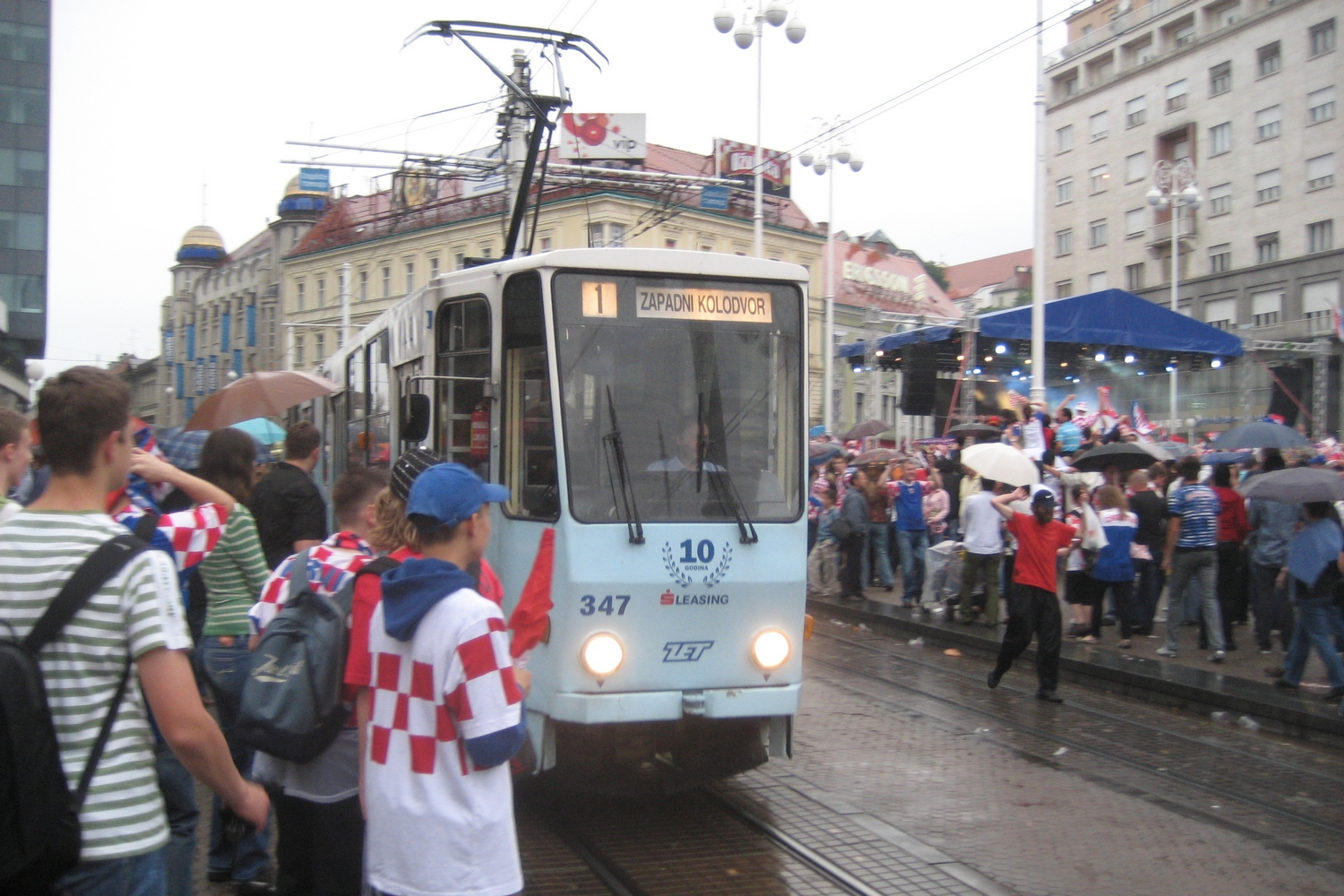 Zagreb articulated tram 347 on extra line 1 in the square Trg bana Josipa Jelačića (2008).