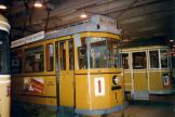 Aarhus railcar 1 at the museum Hovedstadsområdets Trafikselskabsmuseum, seen from the side (1999).