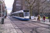 Amsterdam low-floor articulated tram 2012 on tram line 14 in the square Rembrandtplein (2004).