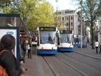 Amsterdam low-floor articulated tram 2039 on tram line 2 in the square Leidseplein (2009).