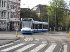 Amsterdam low-floor articulated tram 2048 on tram line 10 in the square Leidseplein (2009).