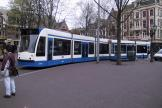 Amsterdam low-floor articulated tram 2068 on tram line 2 in the square Leidseplein (2004).