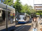 Amsterdam low-floor articulated tram 2095 on tram line 14 at the stop Plantage Lepellaan (2009).
