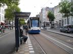 Amsterdam low-floor articulated tram 2125 on tram line 14 at the stop Artis (2009).