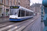Amsterdam low-floor articulated tram 2133 on tram line 25 in the square Dam (2004).