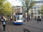 Amsterdam low-floor articulated tram 2201 on tram line 5 in the square Leidseplein (2009).