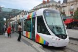 Angers low-floor articulated tram 1011 on tram line A at the stop Ralliement, close (2016)