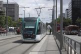 Barcelona low-floor articulated tram 03 on tram line T2 at the stop Numància (2012)