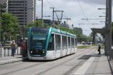 Barcelona low-floor articulated tram 07 on tram line T3 at the stop L'Illa (2012)
