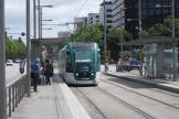 Barcelona low-floor articulated tram 10 on tram line T1 at the stop Maria Cristina (2012)