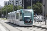Barcelona low-floor articulated tram 13 on tram line T2 at the stop Maria Cristina (2012)