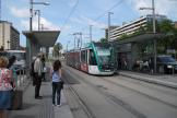 Barcelona low-floor articulated tram 15 on tram line T2 at the stop Maria Cristina (2012)