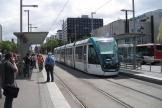 Barcelona low-floor articulated tram 16 on tram line T1 at the stop Maria Cristina (2012)