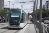 Barcelona low-floor articulated tram 21 on tram line T1 at the stop Maria Cristina (2012)