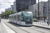 Barcelona low-floor articulated tram 22 on tram line T3 at the stop Maria Cristina (2012)