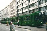 Basel articulated tram 673 on tram line 3 at the stop Bankverein (2003).