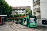 Basel low-floor articulated tram 314 on tram line 6 at the terminus Riehen grenze (2003).