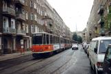 Berlin articulated tram 291 269-2 on fast line M8 the old terminus Wöhlertsstraße (1993).
