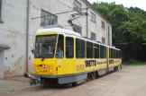 Berlin articulated tram 6016 on Hannover museum line Hohenfelser Wald at the stop Omnibushalle (2016).