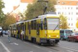 Berlin articulated tram 6026 on fast line M13 at the stop Wühlischstraße/Gärtnerstraße (2012).