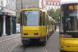 Berlin articulated tram 6051 on fast line M6 at the terminus S-Bhf. Hackescher Markt (2012).