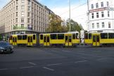 Berlin articulated tram 6128 on fast line M8 in the square Rosenthaler Platz (2012).
