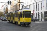 Berlin articulated tram 6146 on tram line 21 in the intersection Boxhagener Straße/Holteistraße (2012).