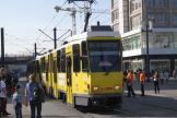Berlin articulated tram 7010 on fast line M4 in the square Alexanderplatz (2012).