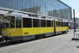 Berlin articulated tram 7053 on fast line M4 at the stop S+U Alexanderplatz Bhf/Gontardstraße (2011).