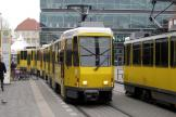 Berlin articulated tram 7088 on fast line M4 at the stop Alexanderplatz (2010).