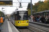 Berlin low-floor articulated tram 1013 on tram line 16 at the stop S+U Bahnhof Frankfurter Allé (2012).