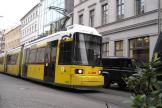 Berlin low-floor articulated tram 1025 on fast line M6 on Oranienburger Strasse (2012).