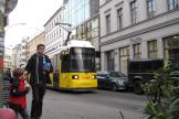 Berlin low-floor articulated tram 1043 on tram line 12 on Oranienburger Strasse (2012).