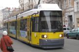 Berlin low-floor articulated tram 1068 on tram line 12 at the stop Oranienburger Straße (2010).