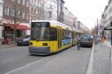 Berlin low-floor articulated tram 1068 on tram line 12 on Oranienburger Straße (2010).