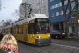 Berlin low-floor articulated tram 2001 on tram line 12 on Rosenthaler Straße (2007).