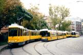Berlin low-floor articulated tram 2002 on tram line 15 at the terminus S-Bhf. Hackescher Markt (2002).