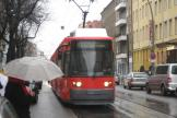 Berlin low-floor articulated tram 2040 on fast line M1 on Rosenthaler Straße (2007).