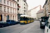Berlin low-floor articulated tram 2044 on tram line 15 on Alte Schönhauser Straße (2002).