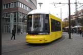 Berlin low-floor articulated tram 8006 on fast line M4 on Neue Promenade (2012).