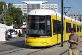 Berlin low-floor articulated tram 8022 on fast line M5 at the stop Alexanderplatz (2012).