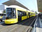 Berlin low-floor articulated tram 9034 on fast line M10 at the stop Hauptbahnhof (2019).