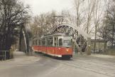 Berlin railcar 218 037-5 on tram line 68 on the bridge Grünauer Strasse, Teltowkanal (1993).