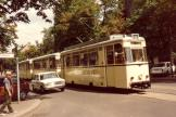 Berlin tram line 84 in the intersection Bölschestraße/Lindenallee, Friedrichshagen (1983).