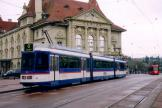Berne articulated tram 84 on regional line 6 the old terminus Zytglogge (2006)