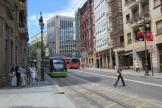 Bilbao low-floor articulated tram 403 on tram line A at the stop Sabino Arana (2012)