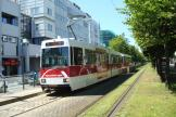 Braunschweig articulated tram 8153 on tram line 4 at the stop Alte Waage (2014).