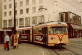 Bremen articulated tram 439 on extra line 5 in the square Bahnhofsplatz (1982).